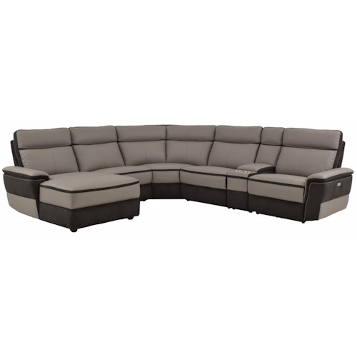 Homelegance Laertes Contemporary Power Reclining Sectional With Chaise Beck 39 S Furniture
