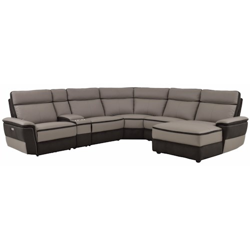 Homelegance Laertes Contemporary Power Reclining Sectional with Consoles
