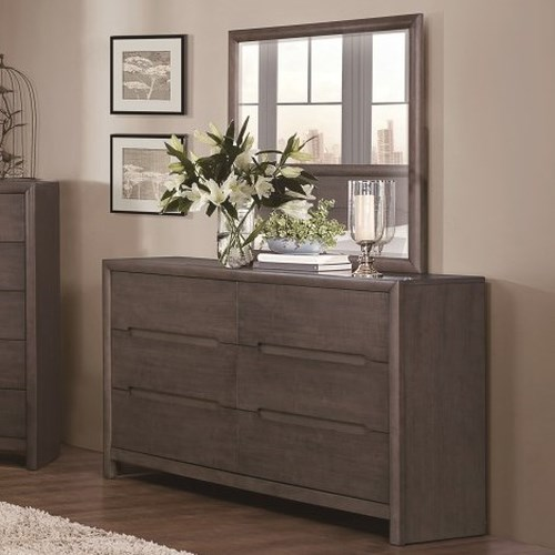 Homelegance Lavinia Contemporary Dresser and Mirror with Dovetail Joinery