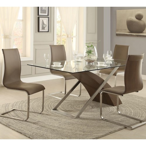 Homelegance Odeon 5 Piece Dining Set with Glass Table Top