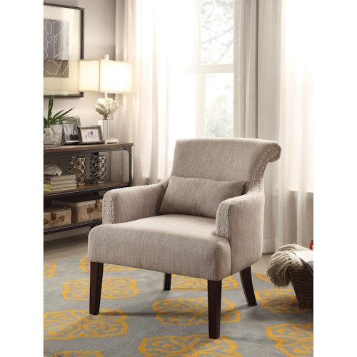 Homelegance Reedley Transitional Upholstered Chair with Nailhead Trim