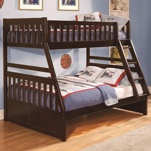 Homelegance Rowe Twin Over Full Bunk Bed with Slats