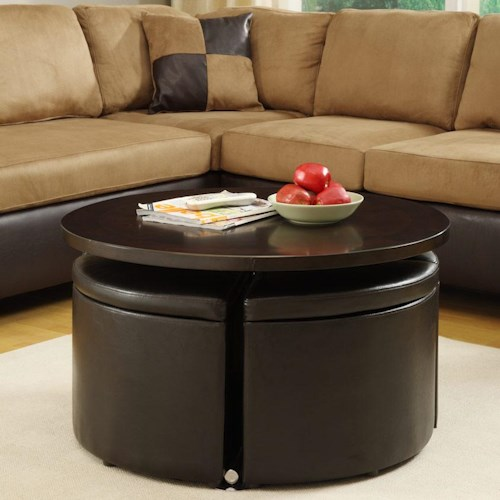 Homelegance Rowley Lift Table with Four Storage Ottomans