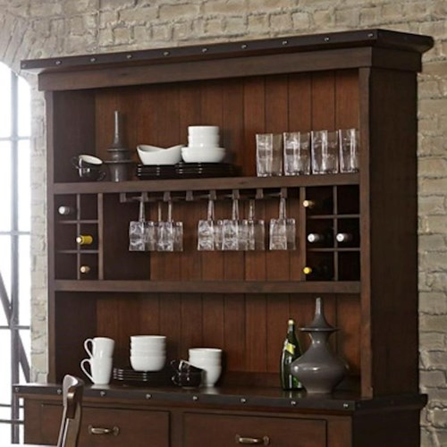 Homelegance Schleiger Industrial Dining Hutch With Metal Trim And Decorative Nail Heads