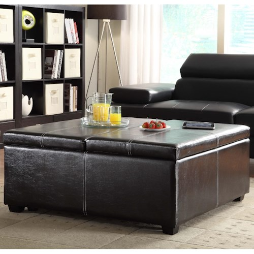Homelegance Synergy Contemporary Storage Ottoman with Tray Top