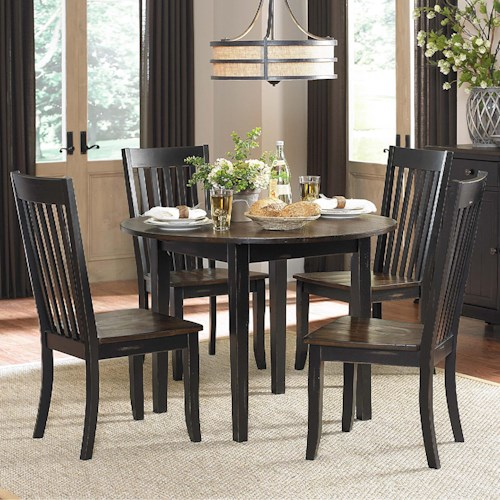 Homelegance Three Falls 5 Piece Dining Set with Round Drop-Leaf Table