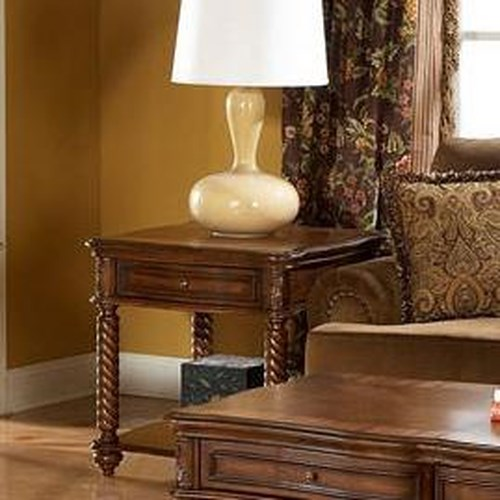 Homelegance Trammel Square Spiral Turned Leg End Table with Storage