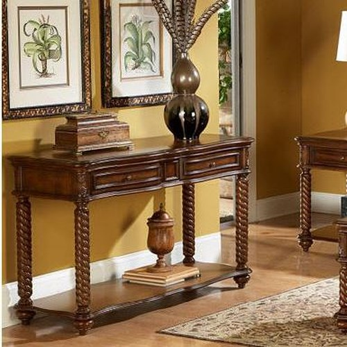 Homelegance Trammel Spiral Post Sofa Table with Serpentine Drawers and Shelf