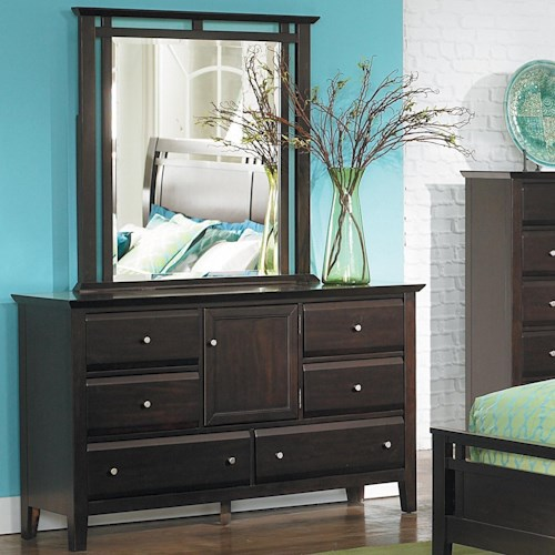 Homelegance Verano Casual 6-Drawer Dresser and Mirror with Storage Door