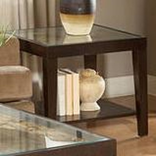 Homelegance Vincent  Square End Table w/ Glass Top
