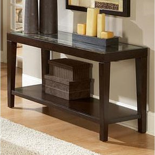 Homelegance Vincent  Glass Top Sofa Table w/ Shelf