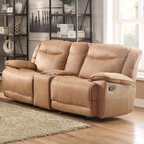 Homelegance Wasola Casual Reclining Loveseat with Storage Console
