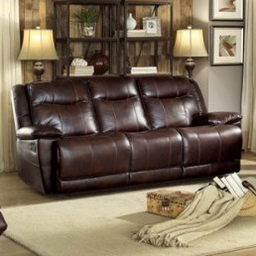 Homelegance Wasola Casual Reclining Sofa with 3 Reclining Seats