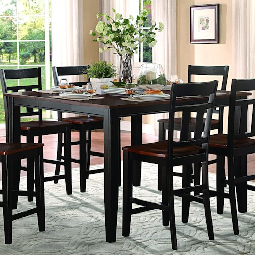 Homelegance Westport Extendable Counter Height Table in Two Tone Black and Cherry Finish