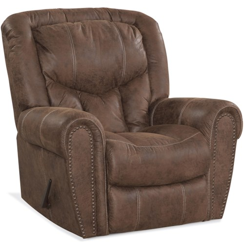 HomeStretch 123 Collection Traditional Rocker Recliner with Nail Head Trim