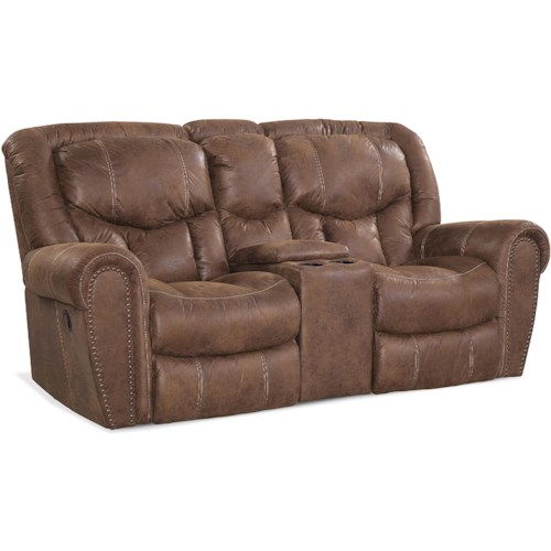 HomeStretch 123 Collection Traditional Rocking Love Seat with Storage Arm and Cup Holders