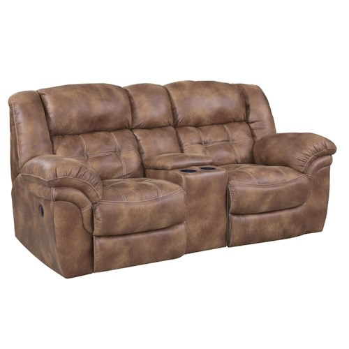 HomeStretch 129 Padre Almond Reclining Console Loveseat with Cupholders