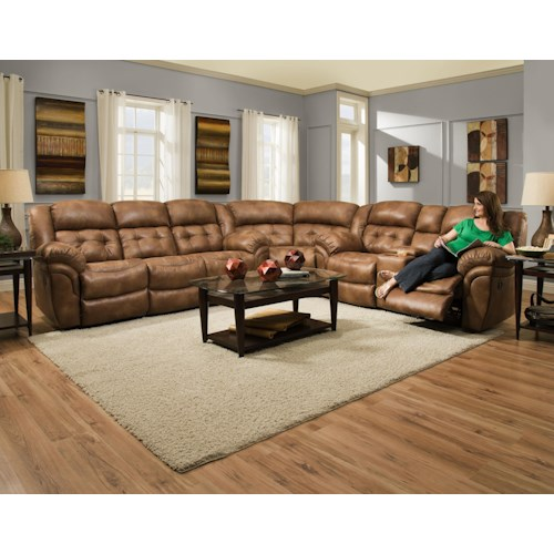 HomeStretch 129 Padre Almond Reclining Sectional Sofa