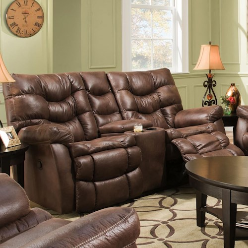 HomeStretch 130 Casual Reclining Love Seat with Console