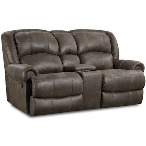 HomeStretch 131 Casual Power Reclining Love Seat with Storage Console