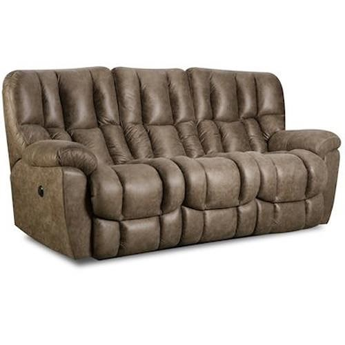 Comfort Living 133-91 Casual Double power Reclining Sofa with Overstuffed Biscuit Back Design