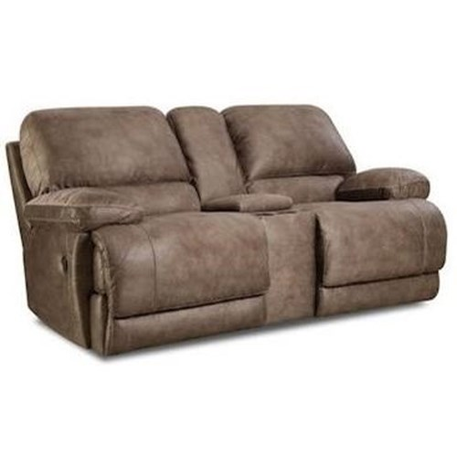 HomeStretch 147 Casual Reclining Console Loveseat with Full Chaise Cushion