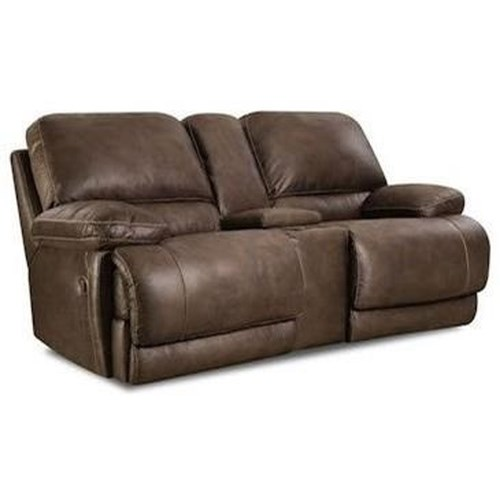 HomeStretch 147 Casual Power Reclining Console Loveseat with Full Chaise Cushion