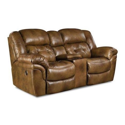 HomeStretch 155 Cheyene Leather Console Reclining Loveseat