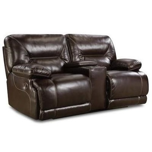 HomeStretch Marshall Casual Power Reclining Console Loveseat with Pillow Arms