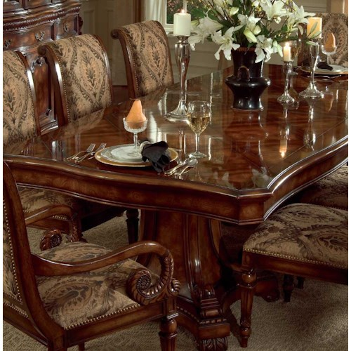 Hooker Furniture Grandeur Rectangular Double Pedestal Dining Table with Two 20