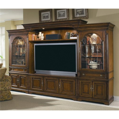Hooker Furniture Brookhaven Entertainment Center with Interchangeable Wood/Glass Doors