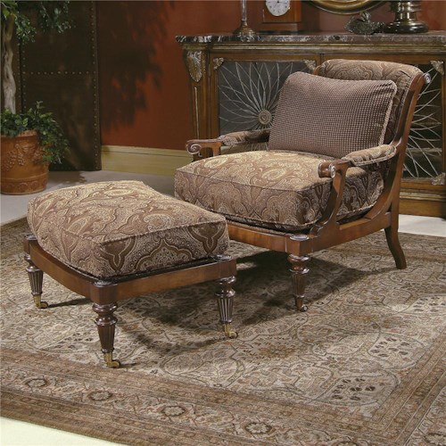 Century Century Chair Matching Scrolled Arm Chair and Ottoman