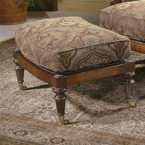 Century Century Chair Traditional Ottoman with Distinct Turned Legs