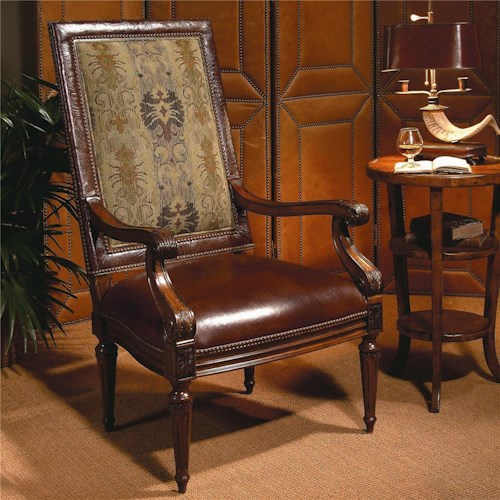 Century Century Chair Rectangular High Back Chair with Leather Seat
