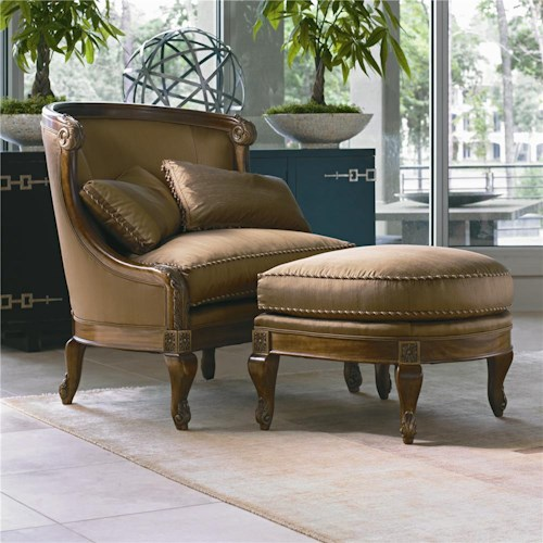 Century Century Chair Matching Nailhead Trimmed Chair and Ottoman