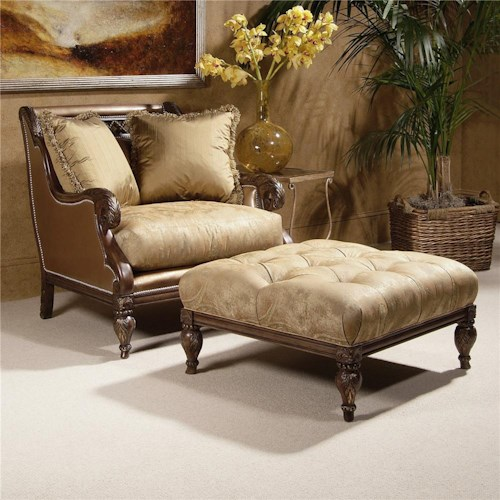 Century Century Chair Wing Chair and Matching Tufted Ottoman