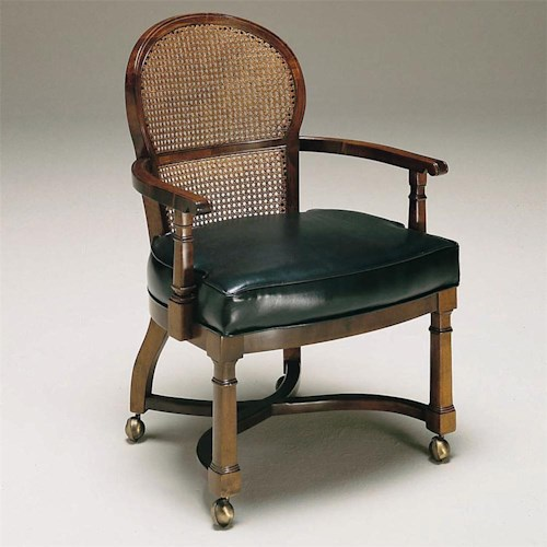 Century Century Chair Armchair on Casters with Basket Weaved Back