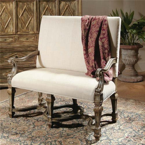 Century Century Chair High Back Loveseat with Scrolled Arms