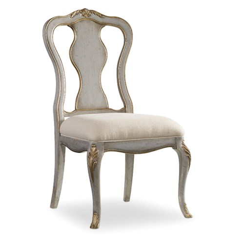 Hamilton Home 5198 Distressed Gray Desk Chair with Gilded Edging