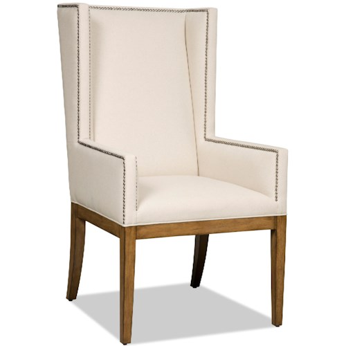 Hooker Furniture Dining Chairs Upholstered Dining Chair with Wing Back and Nailhead Trim