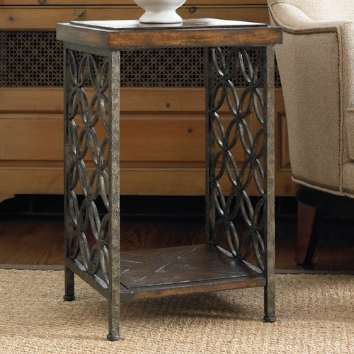 Hooker Furniture Living Room Accents Gmelina Wood and Iron Accent End Table