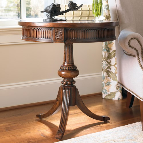 Hooker Furniture Living Room Accents Round Accent Table with Ornate Pedestal and Spider Base