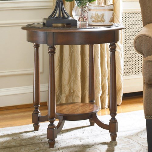 Hooker Furniture Living Room Accents Round Accent Table with Applique Bordered Top