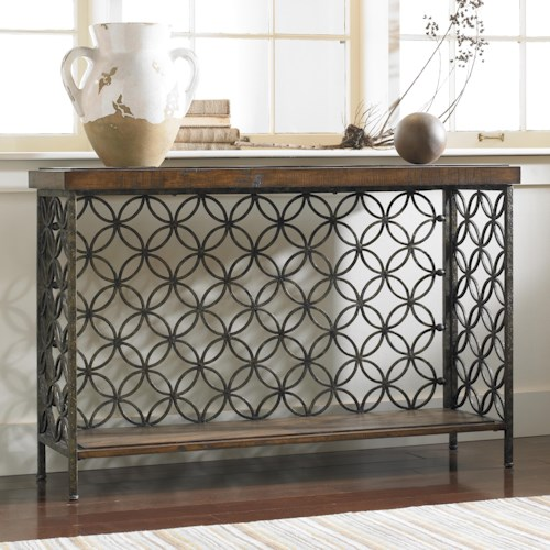 Hooker Furniture Living Room Accents Console Table with Patterned Iron Fretwork