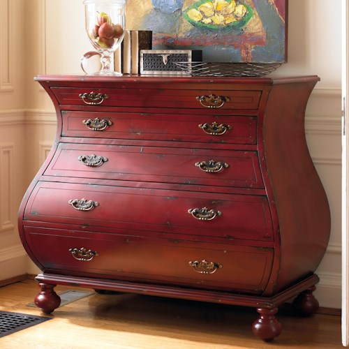 Hooker Furniture Living Room Accents Red Bombe Chest with 3 Drawers