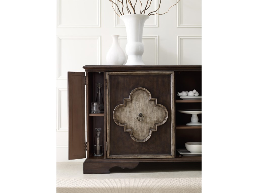 Console Offers Two Hidden Touch-Latch Door Panels that Open to Reveal One Adjustable Shelf Each