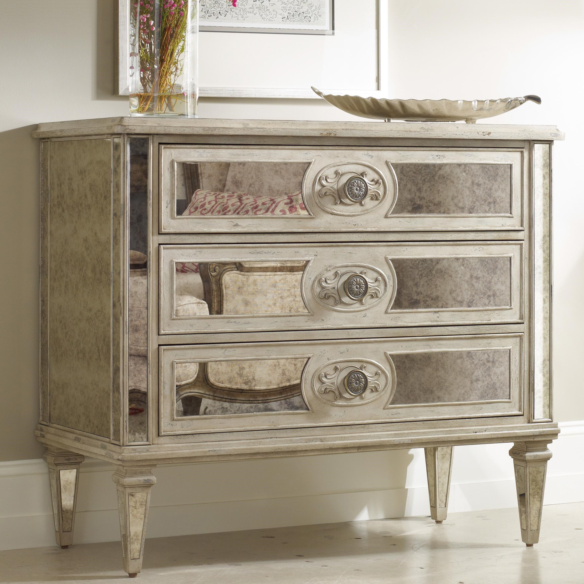 Hooker Furniture Living Room Accents 3-Drawer Antique Mirrored