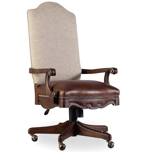 Hooker Furniture Adagio Tilt Swivel Chair with Leather Seat and Fabric Back