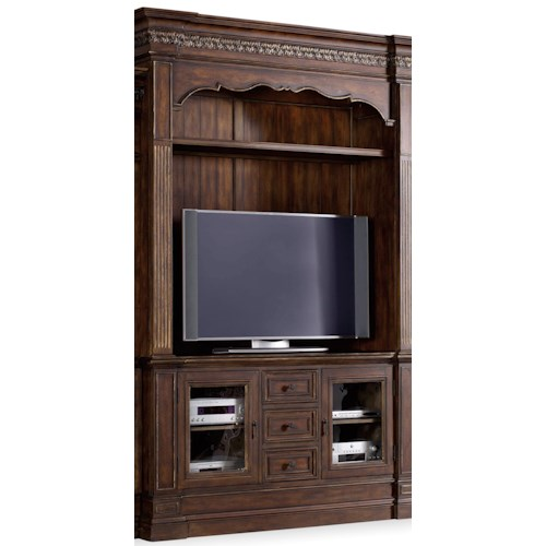 Hamilton Home Adagio Entertainment Console with Hutch and 2 Glass Doors