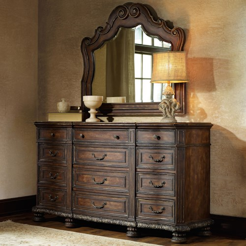 Hooker Furniture Adagio 12 Drawer Dresser with Felt Lined Top Drawers with Mirror